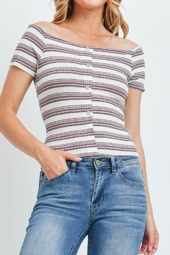 Riah Fashion Stripes-Button-Coral-Top - Product List Image