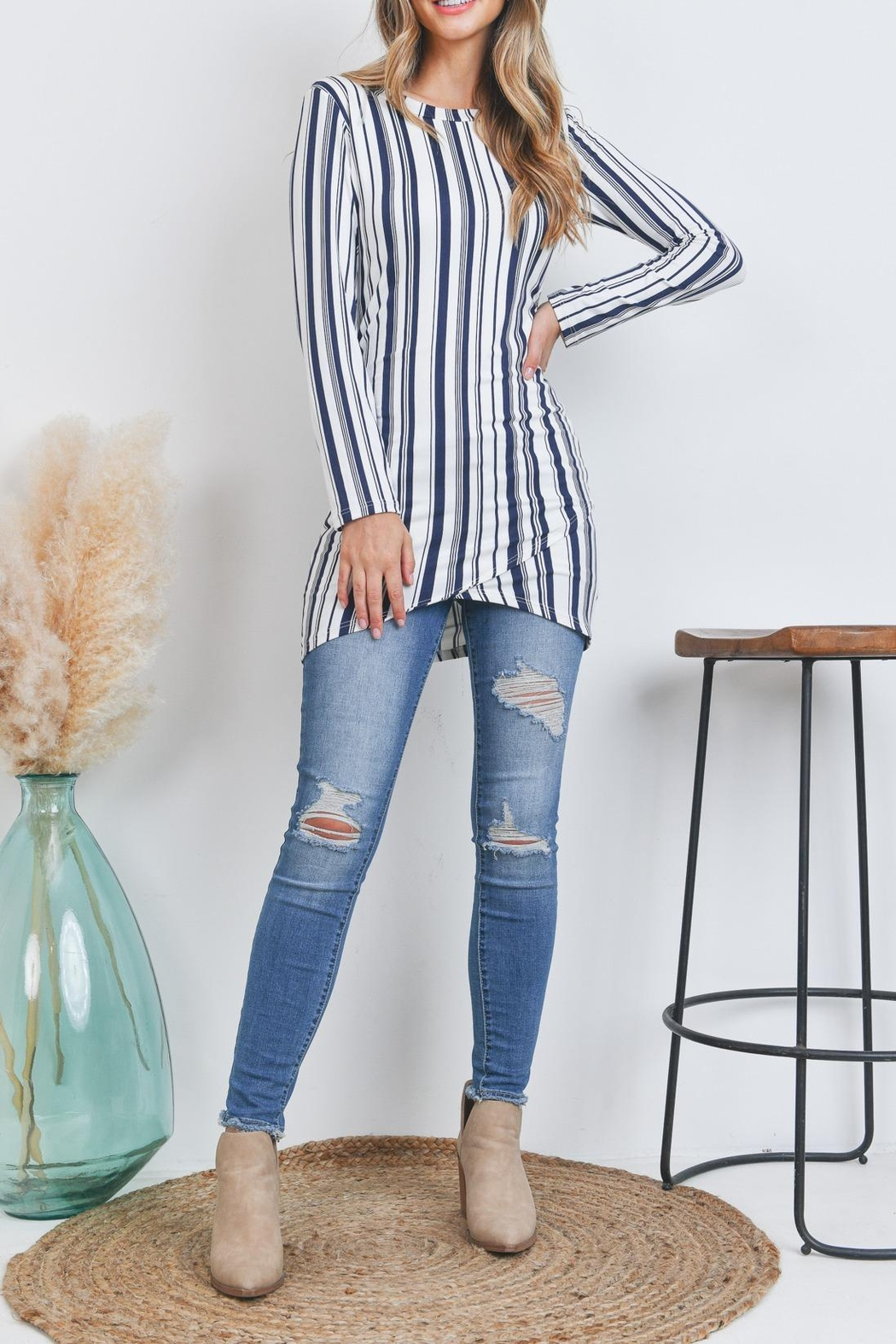 Riah Fashion Stripes-Top - Front Cropped Image
