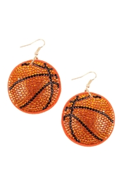 Riah Fashion Suede Crystal Basketball Earrings - Product Mini Image