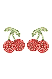 Riah Fashion Suede Crystal Red Cherry Drop Earrings - Product Mini Image