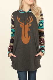 Riah Fashion Suede Deer Hooded Tunic - Product Mini Image