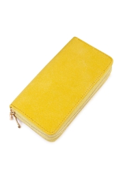Riah Fashion Yellow Faux Suede Wallet - Product Mini Image