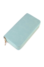 Riah Fashion Turquoise Faux Suede Wallet - Product Mini Image