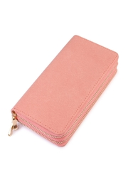 Riah Fashion Pink Faux Suede Wallet - Product Mini Image