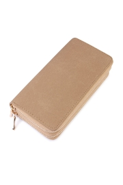 Riah Fashion Beige Faux Suede Wallet - Product Mini Image