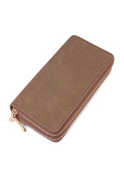 Riah Fashion Brown Faux Suede Wallet - Product Mini Image