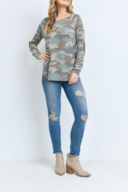 Riah Fashion Suede-Elbow-Patch-Long-Sleeve-Camo-Top - Product Mini Image