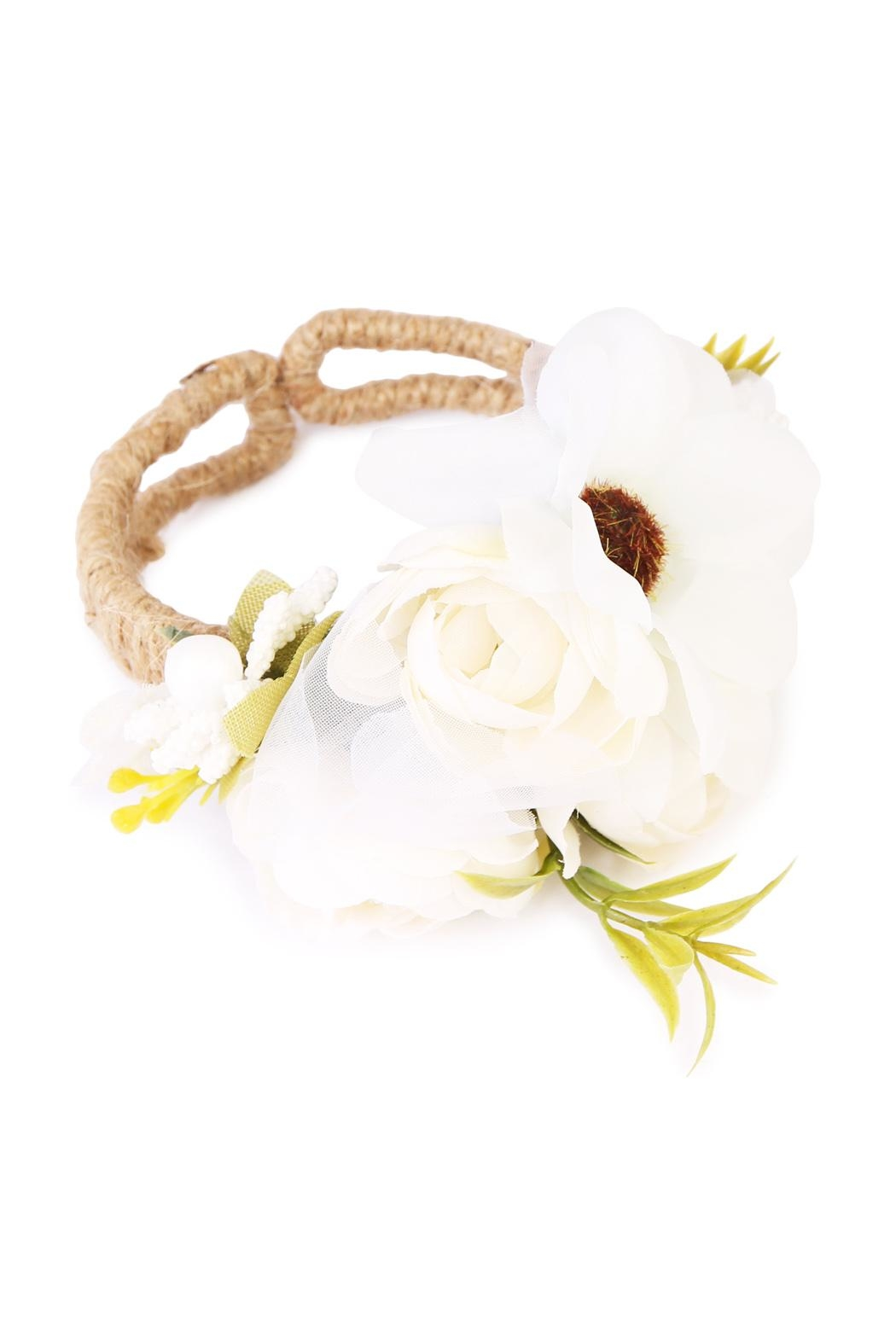Riah Fashion Sunflower Cuff Bracelet - Front Cropped Image