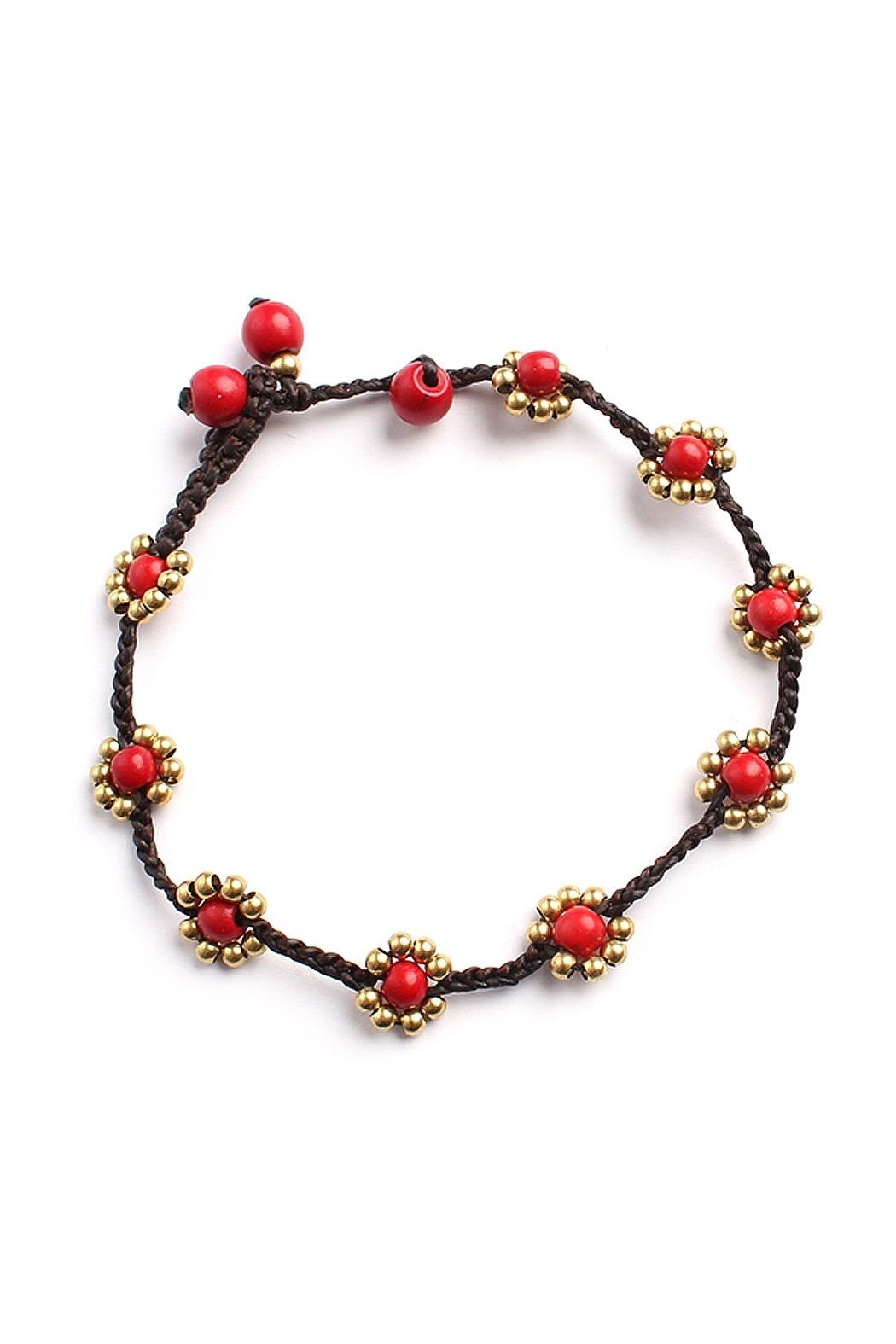 Riah Fashion Sweet-Flower Bead Bracelet - Front Cropped Image
