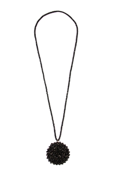 Riah Fashion Swirl-Glass-Beads Disc-Pendant-Necklace - Product List Image