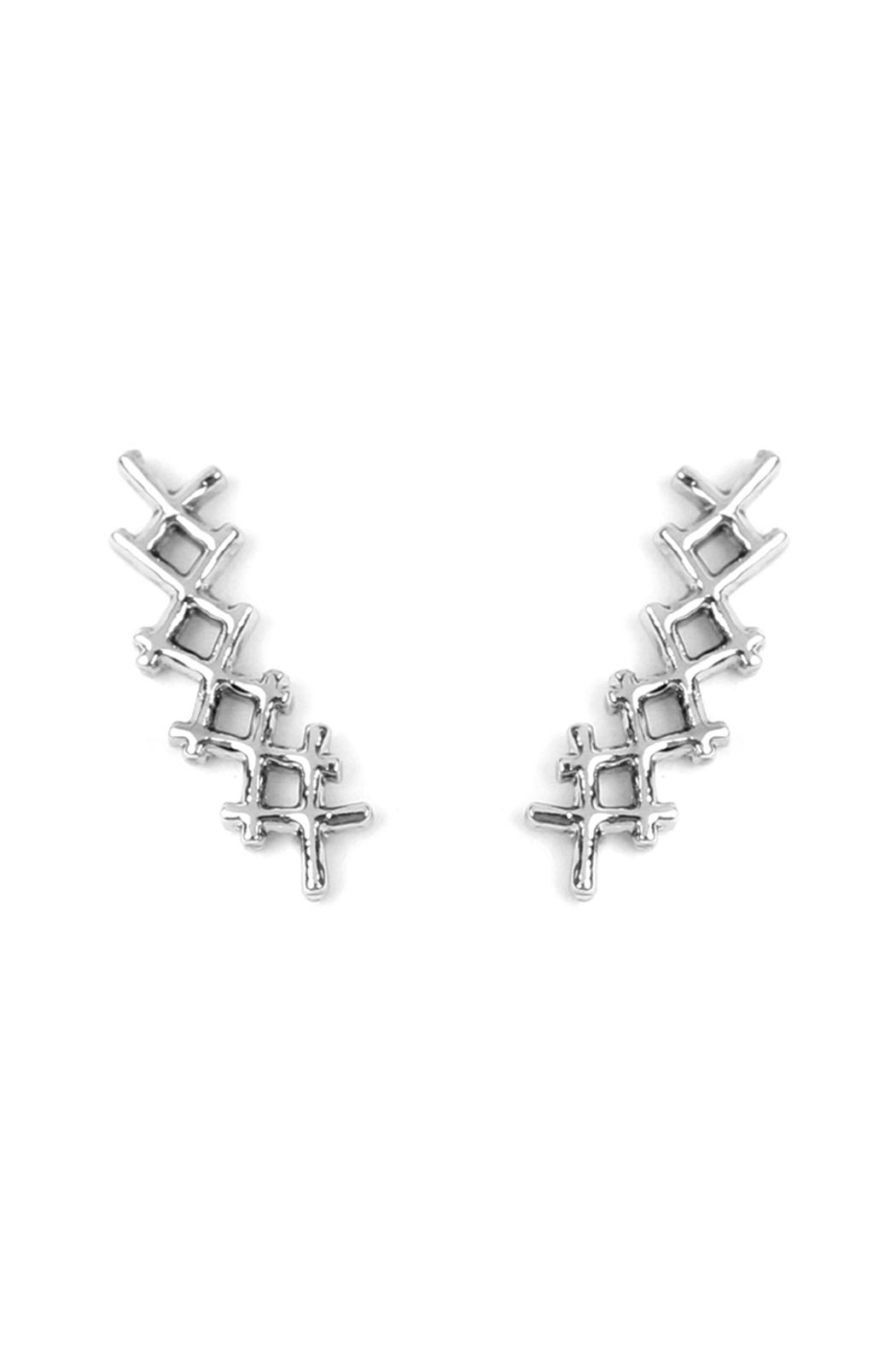 Riah Fashion Tapered-Cross Crawler Earring - Front Cropped Image