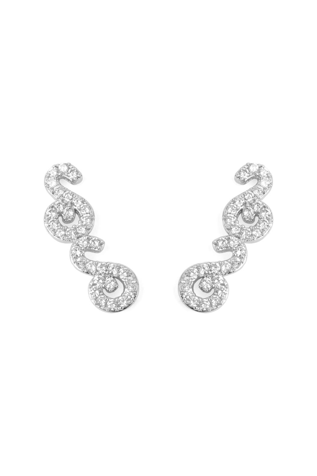 Riah Fashion Tapered-Swirls Crawler Earring - Main Image