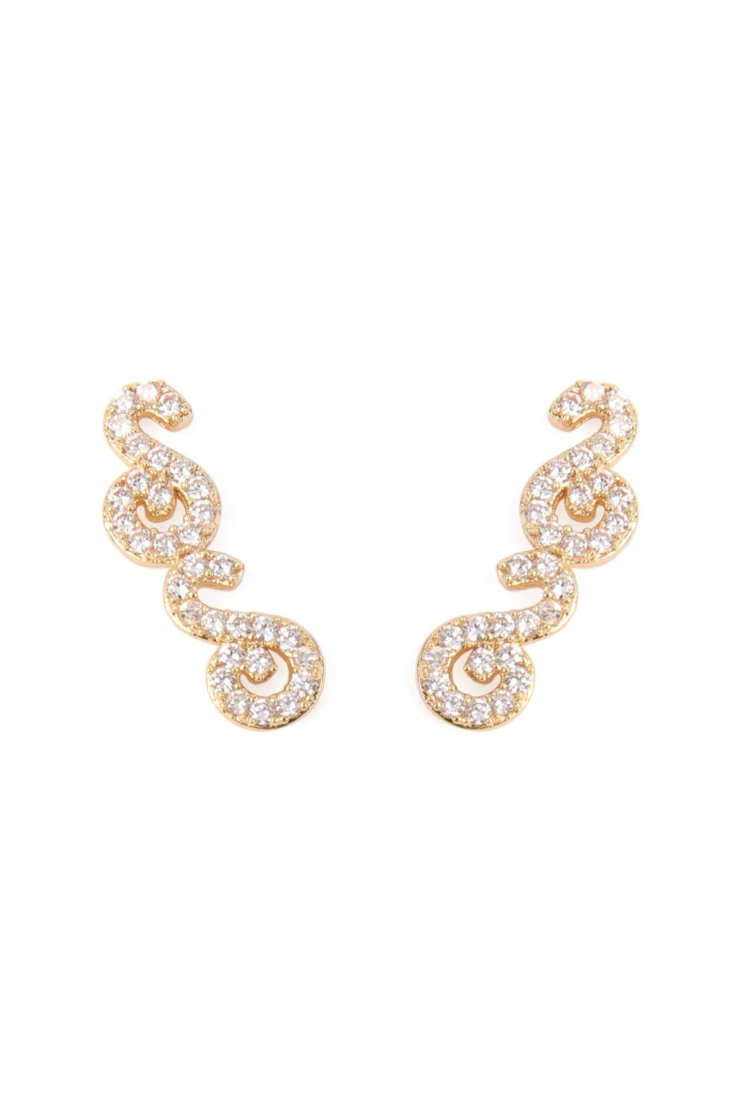 Riah Fashion Tapered-Swirls Crawler Earring - Front Cropped Image