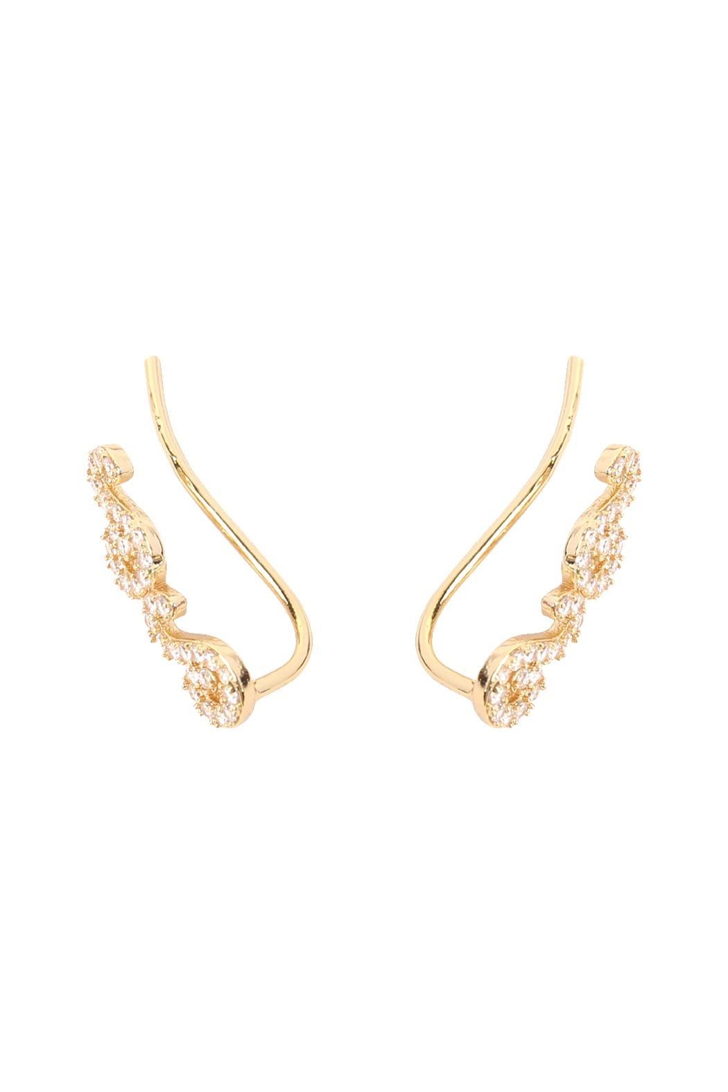 Riah Fashion Tapered-Swirls Crawler Earring - Front Full Image