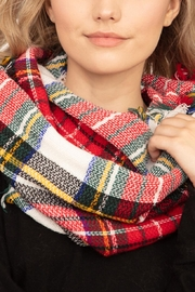 Riah Fashion Tartan-Infinity-Scarf-Polyester - Front cropped
