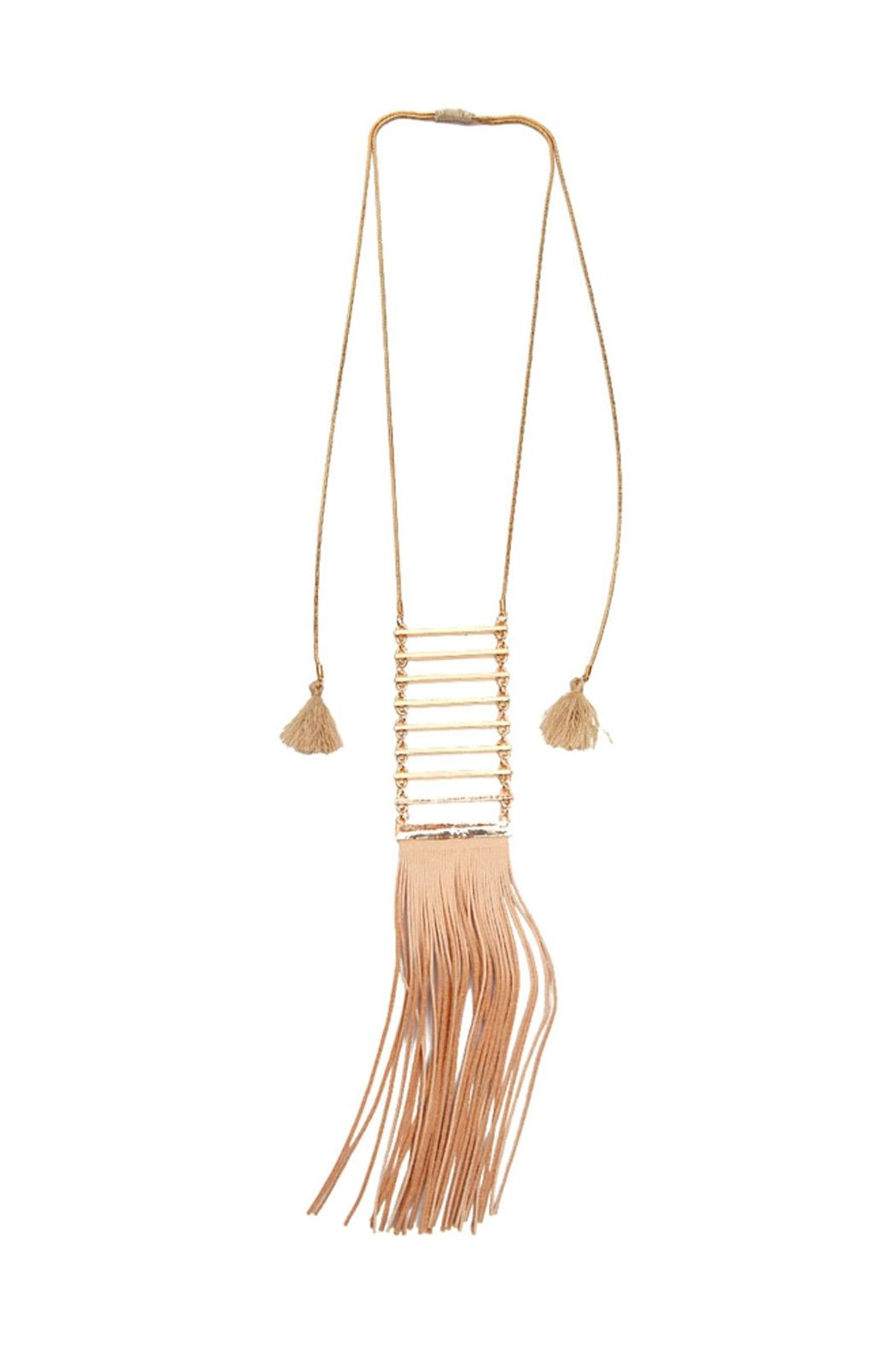 Riah Fashion Tassel Ladder Necklace - Front Cropped Image