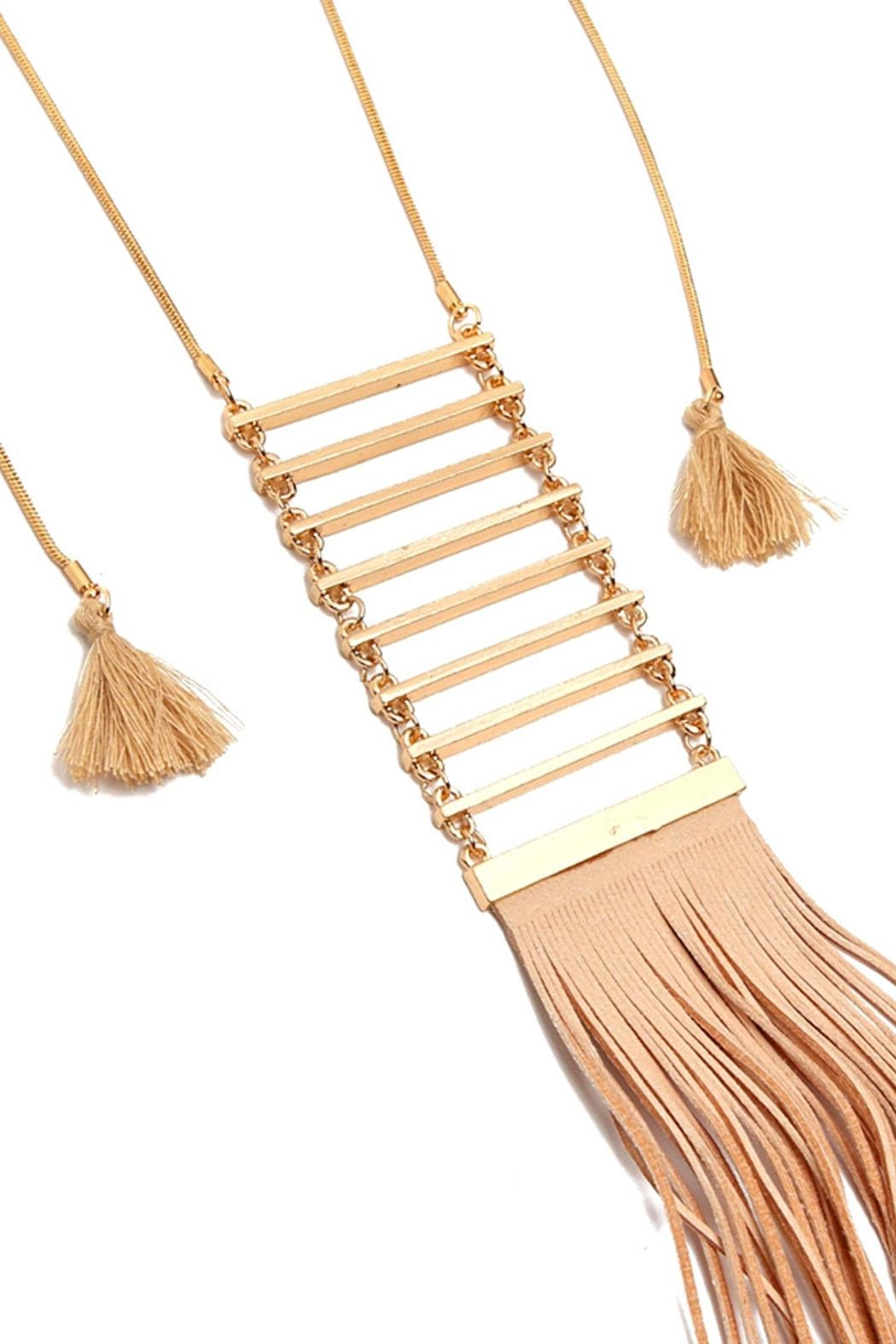 Riah Fashion Tassel Ladder Necklace - Front Full Image