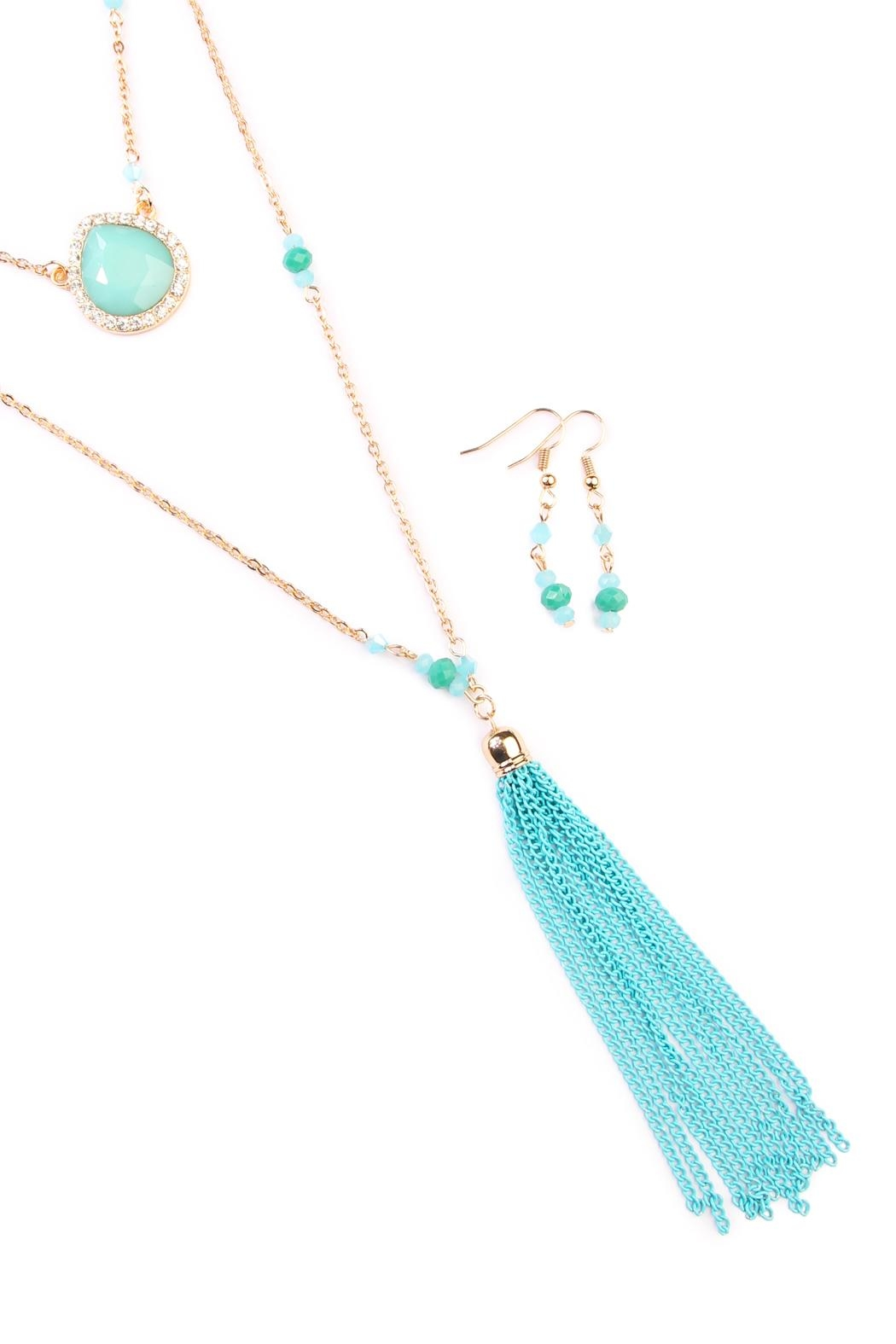 Riah Fashion Turquoise Tassel Accessory Set - Front Full Image