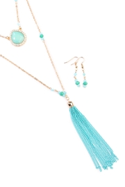 Riah Fashion Turquoise Tassel Accessory Set - Front full body