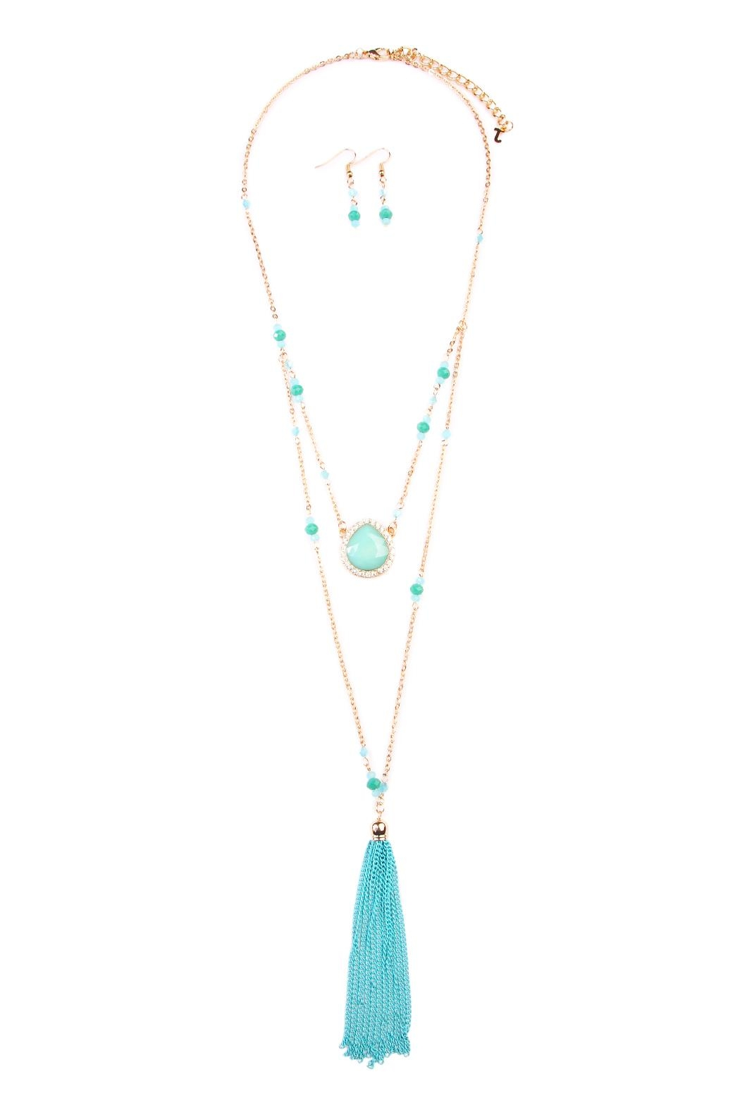 Riah Fashion Turquoise Tassel Accessory Set - Main Image