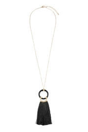 Riah Fashion Tasseled-Ring Pendant-Necklace With-Stud-Earrings - Product Mini Image