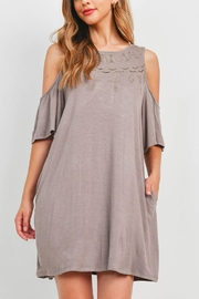 Riah Fashion Taupe Dress - Front cropped