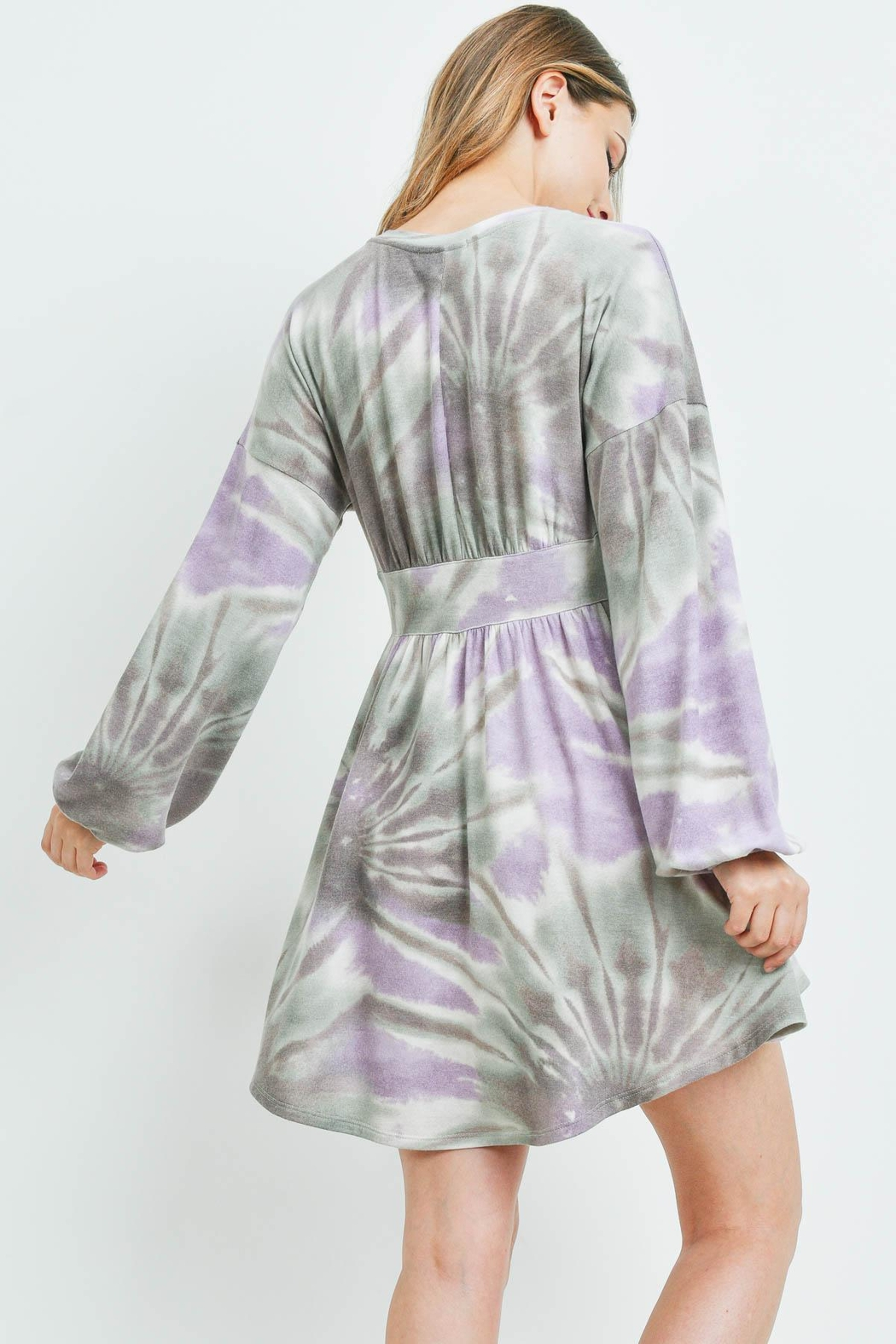 Riah Fashion Taupe-Lilac Tie Dye Dress - Front Full Image