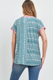 Riah Fashion Teal Top - Front full body