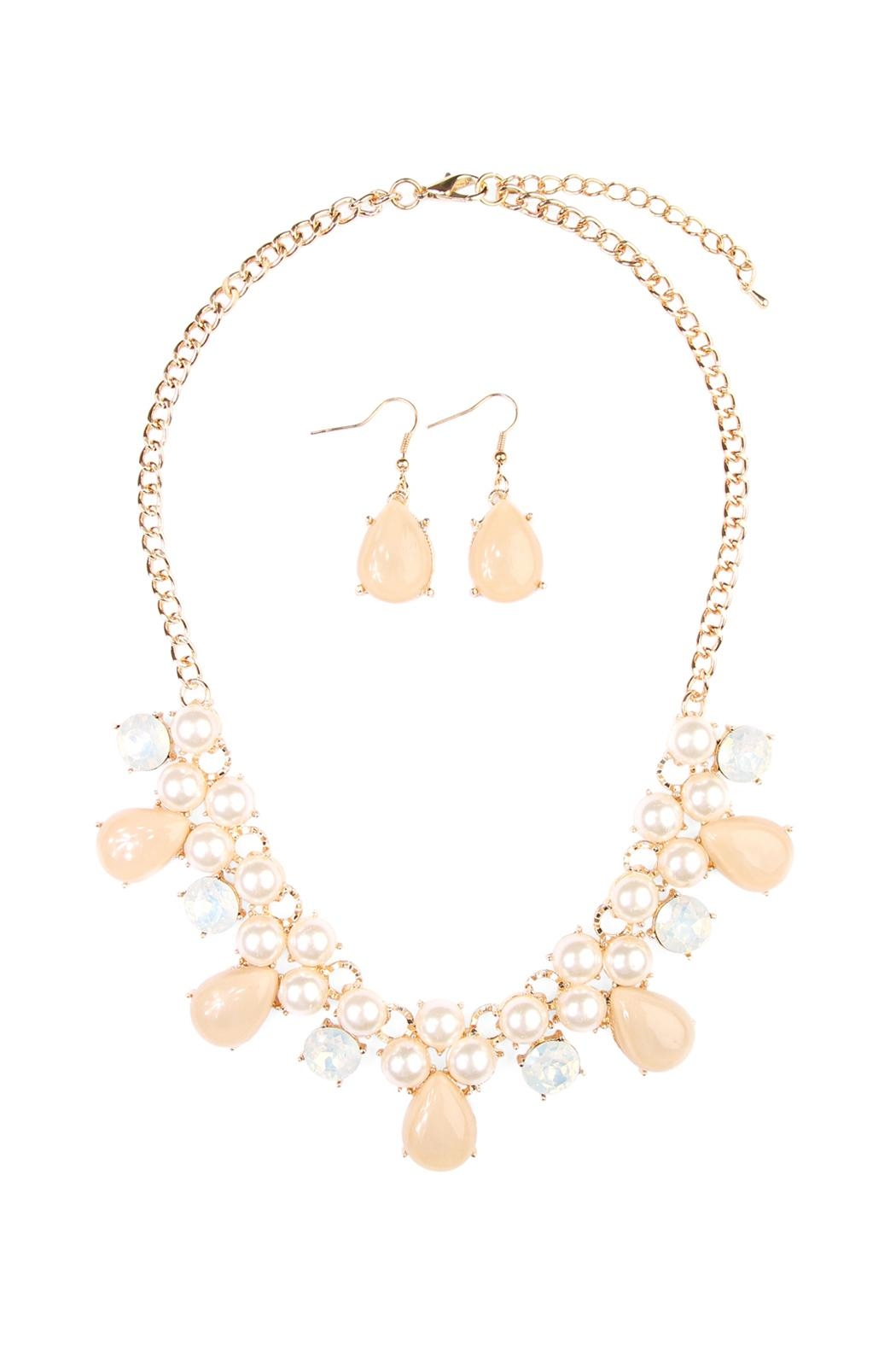 Riah Fashion Teardrop Beaded Necklace Set - Front Cropped Image