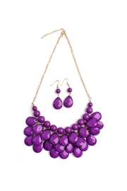 Riah Fashion Violet Bubble Necklace Set - Product Mini Image