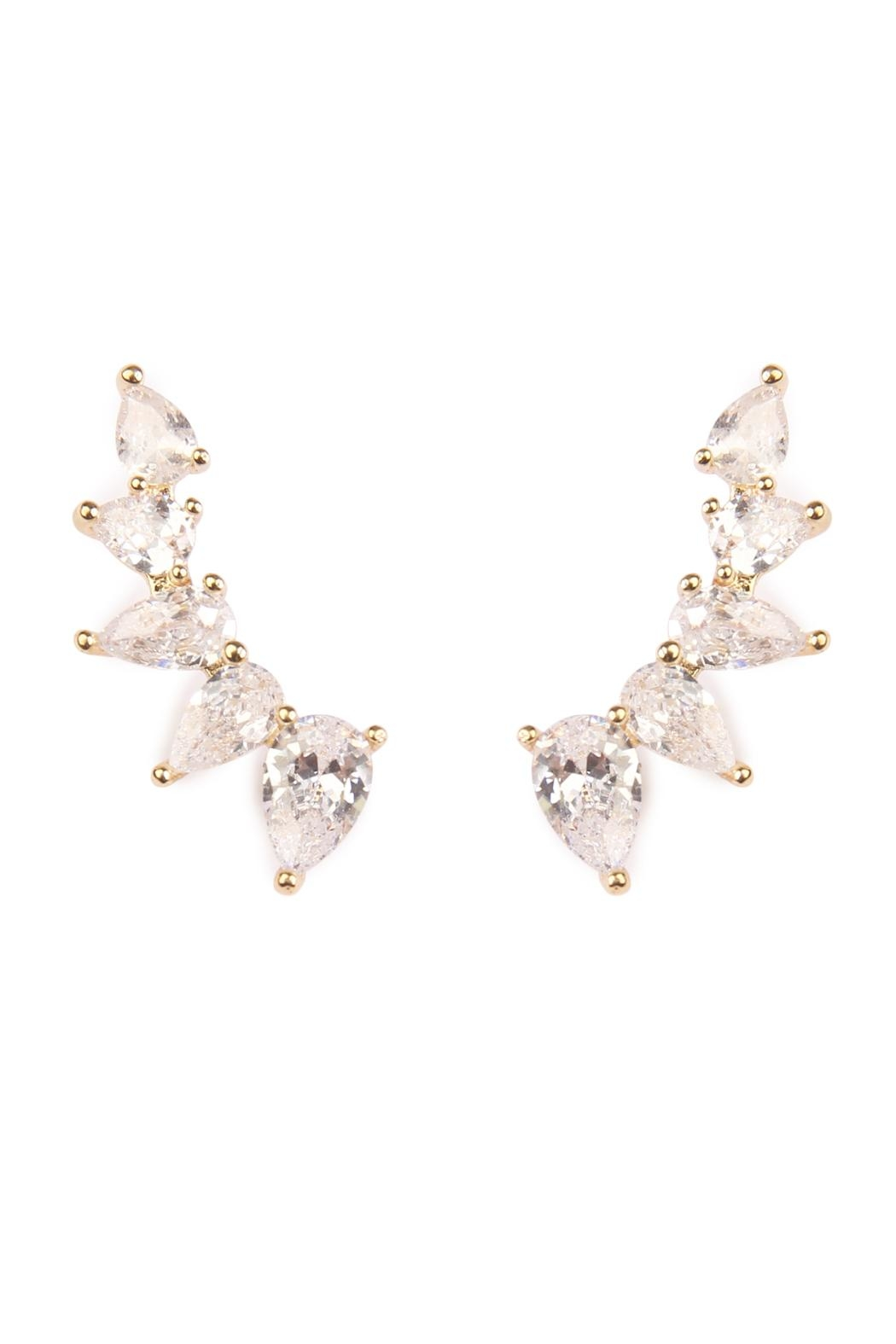 Riah Fashion Teardrop Crawler Earrings - Front Cropped Image