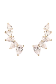 Riah Fashion Teardrop Crawler Earrings - Front cropped