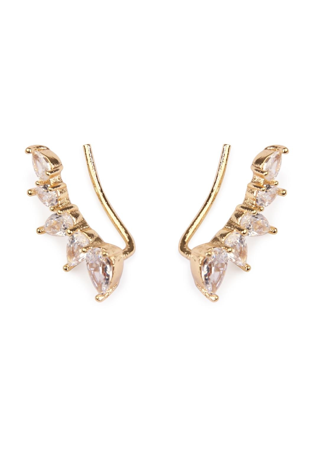 Riah Fashion Teardrop Crawler Earrings - Front Full Image