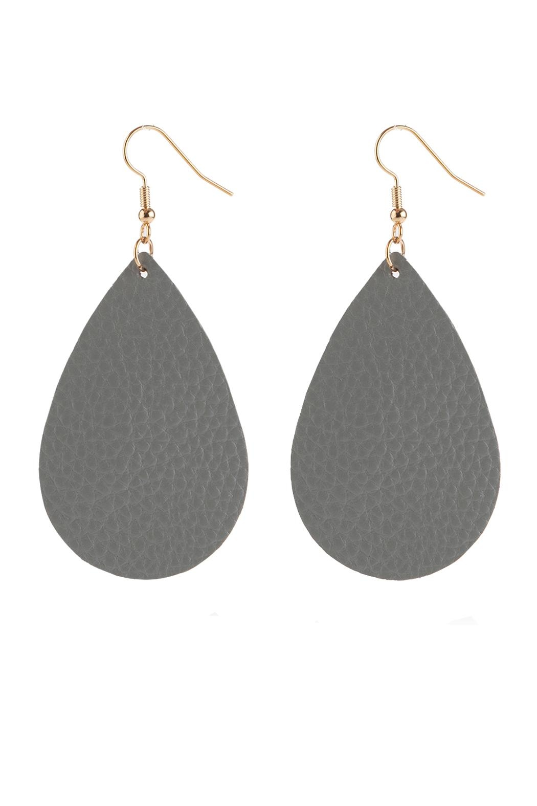 Riah Fashion Teardrop Leather Earrings - Front Full Image