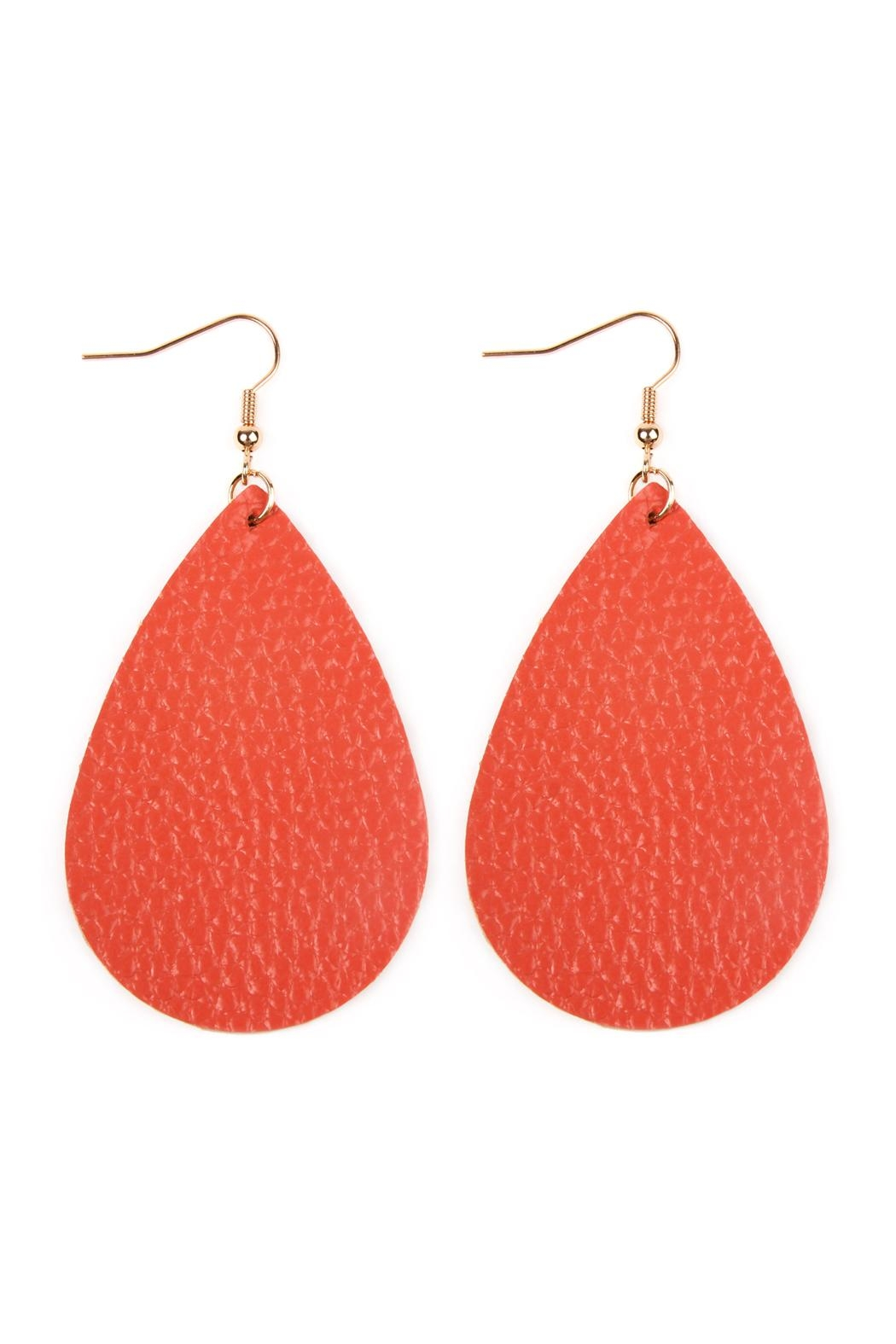 Riah Fashion Teardrop Leather Earrings - Main Image