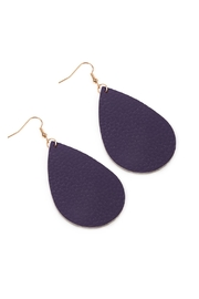 Riah Fashion Teardrop Leather Earrings - Front full body