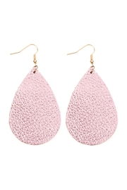 Riah Fashion Teardrop Leather Earrings - Front cropped