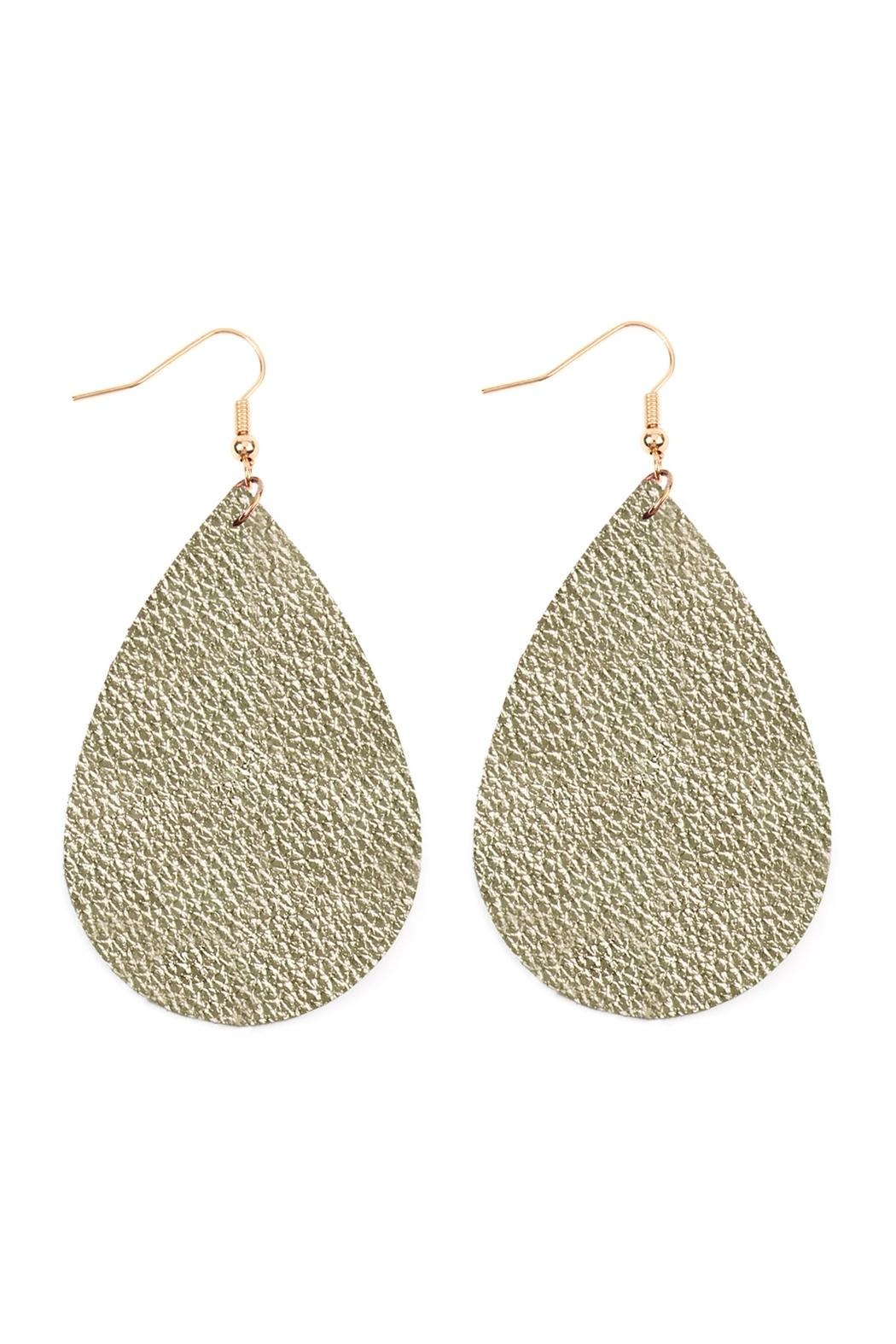 Riah Fashion Teardrop Leather Earrings - Front Cropped Image