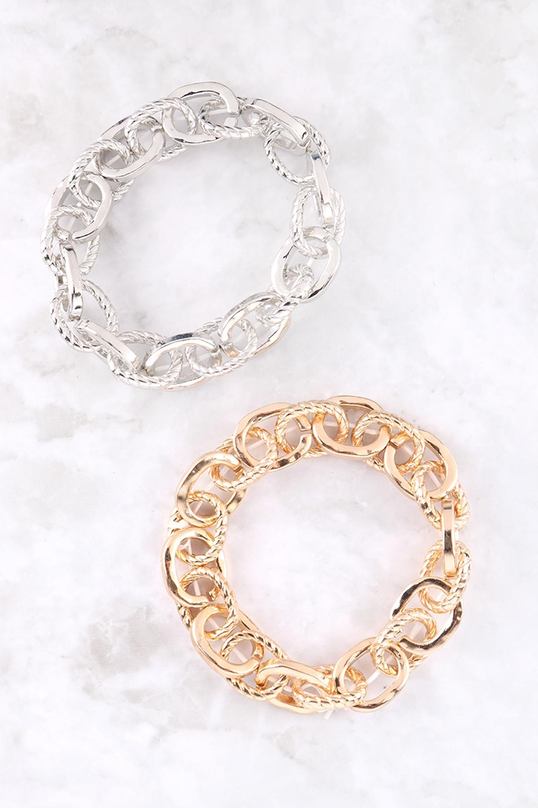 Riah Fashion Textured-Chain-Bracelet - Front Full Image