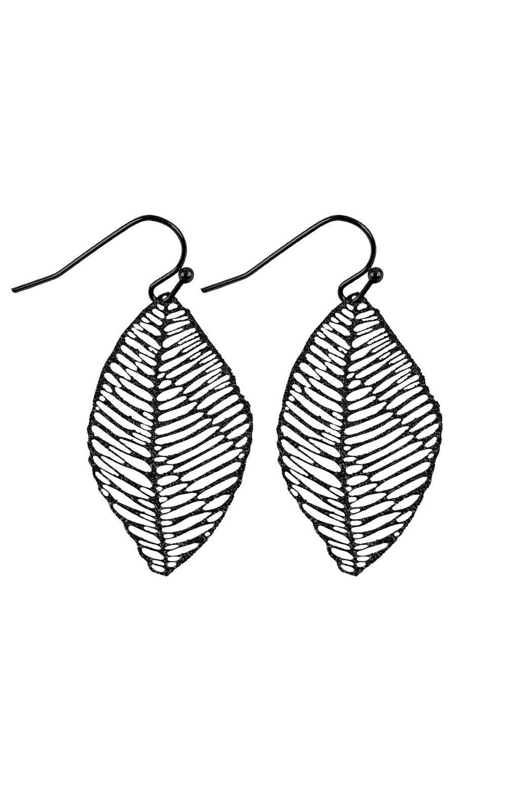 Riah Fashion Textured Filigree-Leaf Drop-Earrings - Front Cropped Image