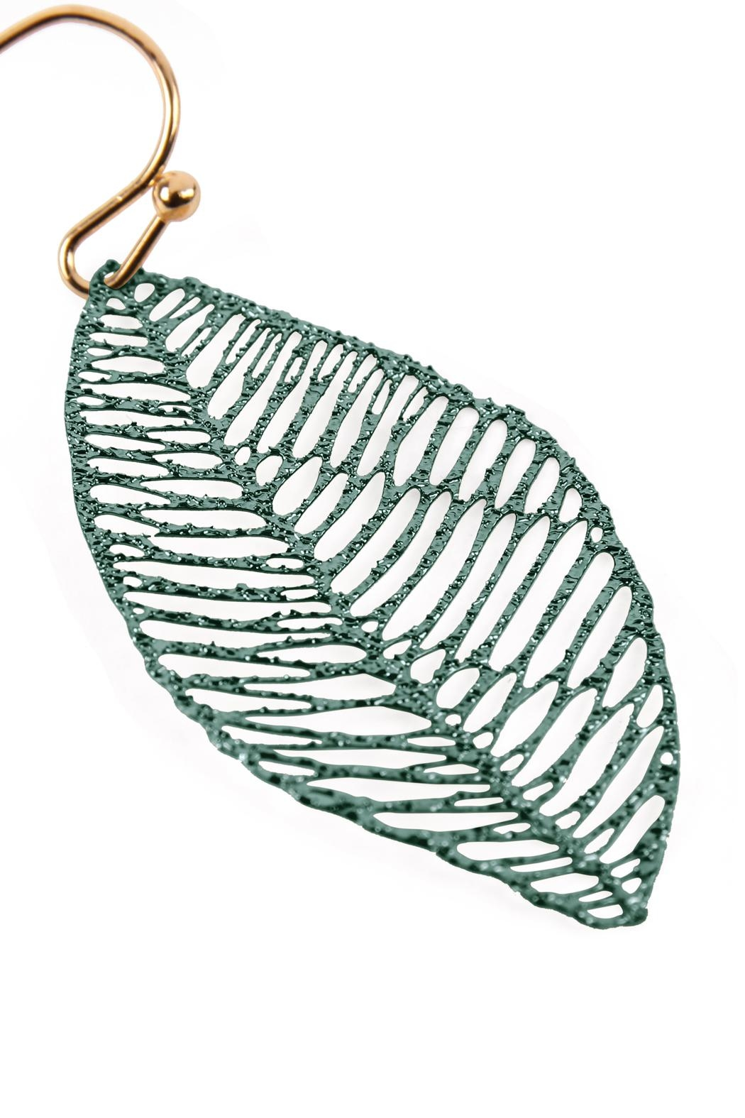 Riah Fashion Textured Filigree-Leaf Drop-Earrings - Front Full Image