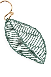 Riah Fashion Textured Filigree-Leaf Drop-Earrings - Front full body