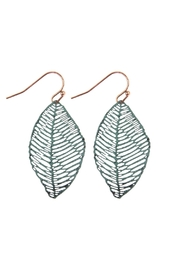 Riah Fashion Textured Filigree-Leaf Drop-Earrings - Front cropped