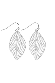 Riah Fashion Textured Filigree-Leaf Drop-Earrings - Product Mini Image