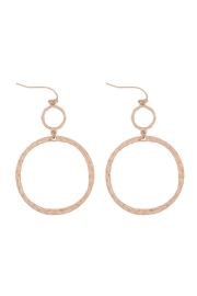 Riah Fashion Textured-Two-Different-Size-Open-Circle-Fish-Hook-Earrings - Product Mini Image