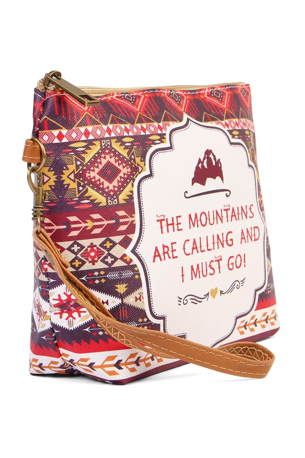 Riah Fashion Mountains Calling Cosmetic Bag - Front Full Image