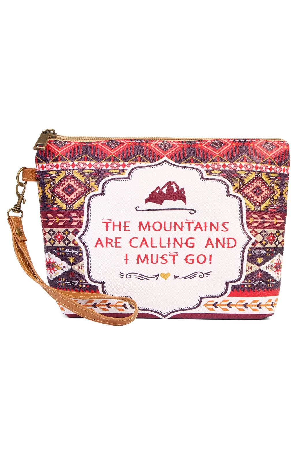 Riah Fashion Mountains Calling Cosmetic Bag - Front Cropped Image