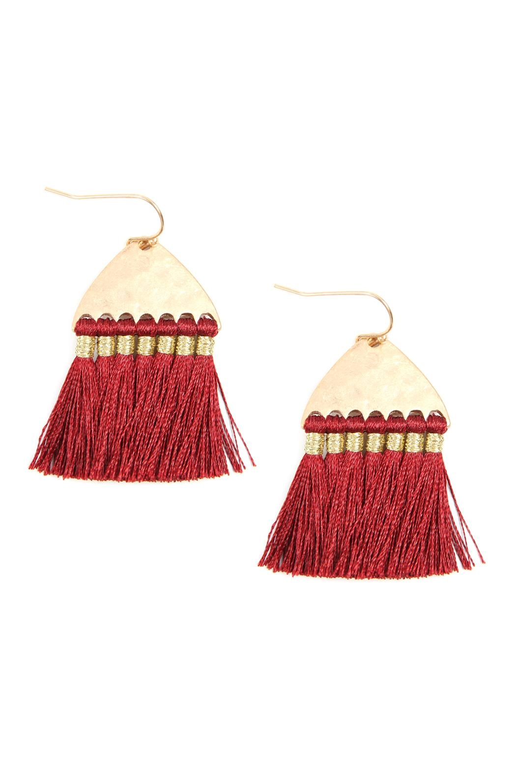 Riah Fashion Thread Tassel-With-Hammered Metal-Hook-Earrings - Main Image