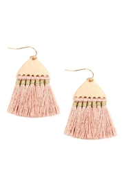 Riah Fashion Thread Tassel-With-Hammered Metal-Hook-Earrings - Front cropped