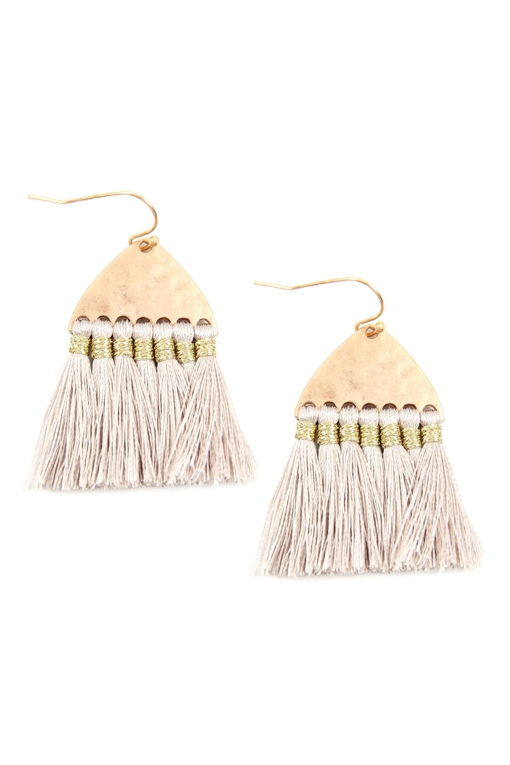 Riah Fashion Thread Tassel-With-Hammered Metal-Hook-Earrings - Front Cropped Image